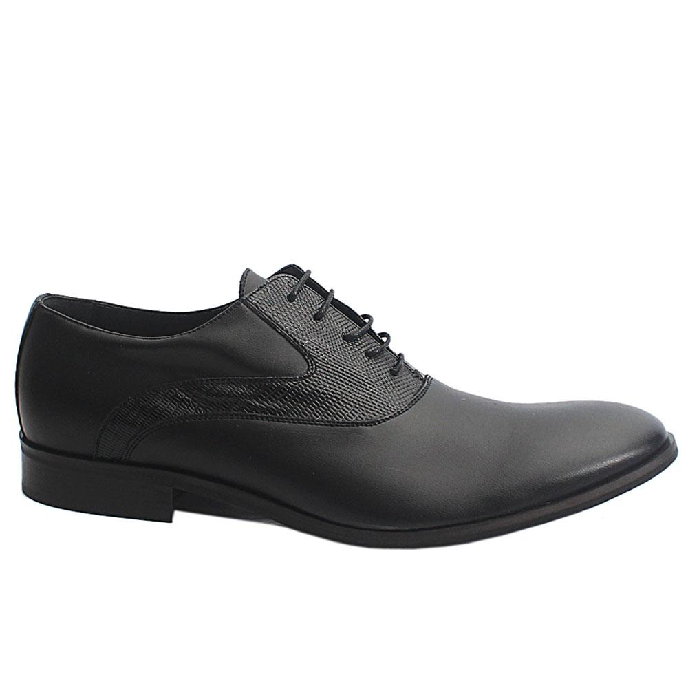 Black Joachim Italia Leather Men Oxford Shoes