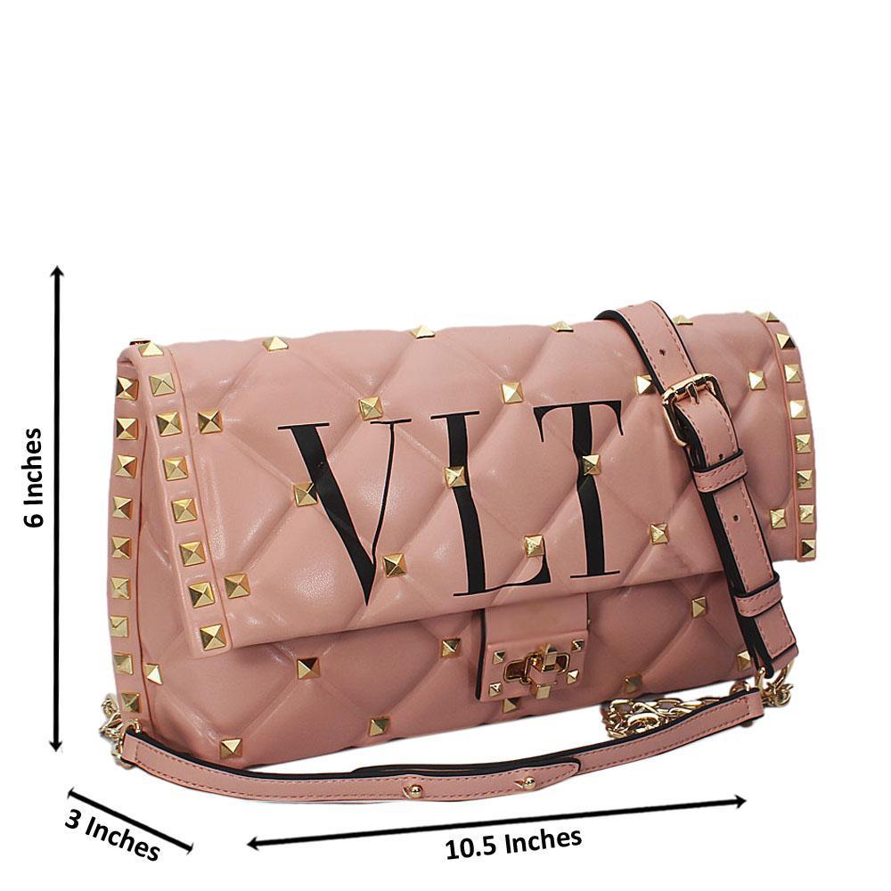 Kira Peach Studded Montana Leather Crossbody Handbag