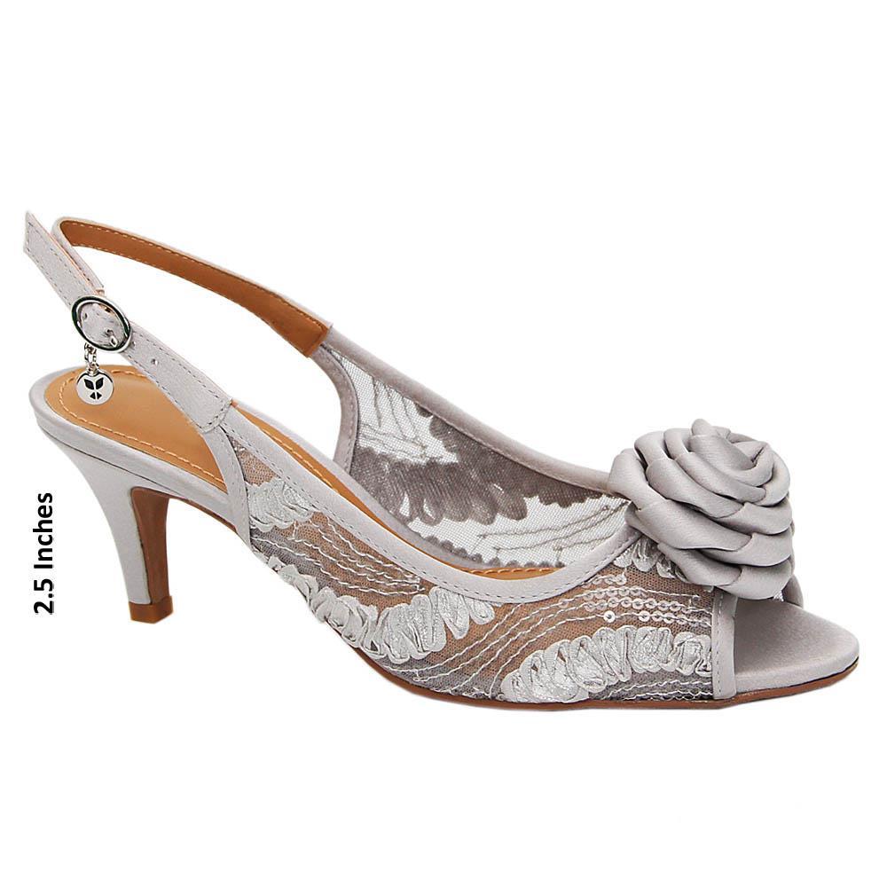 Silver Diana Satin Fabric Mid Heel Sandals