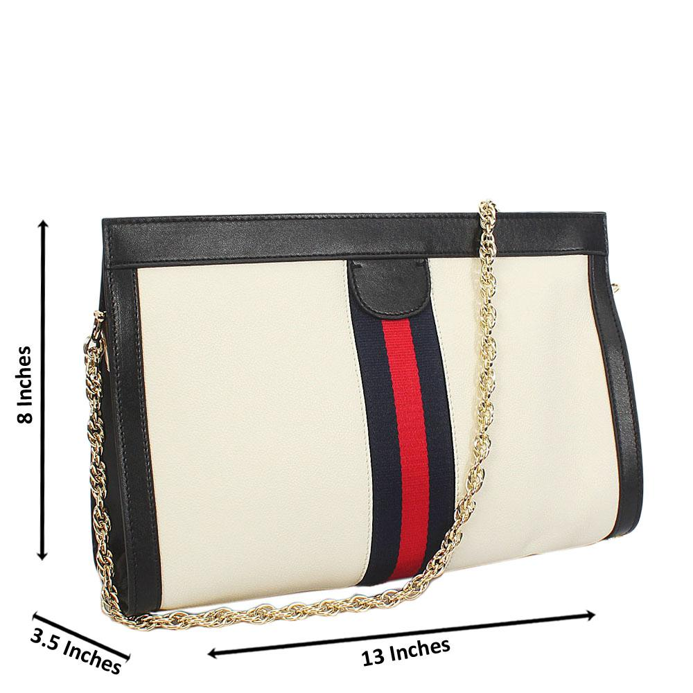 White Black Ava Italian Leather Shoulder Handbag