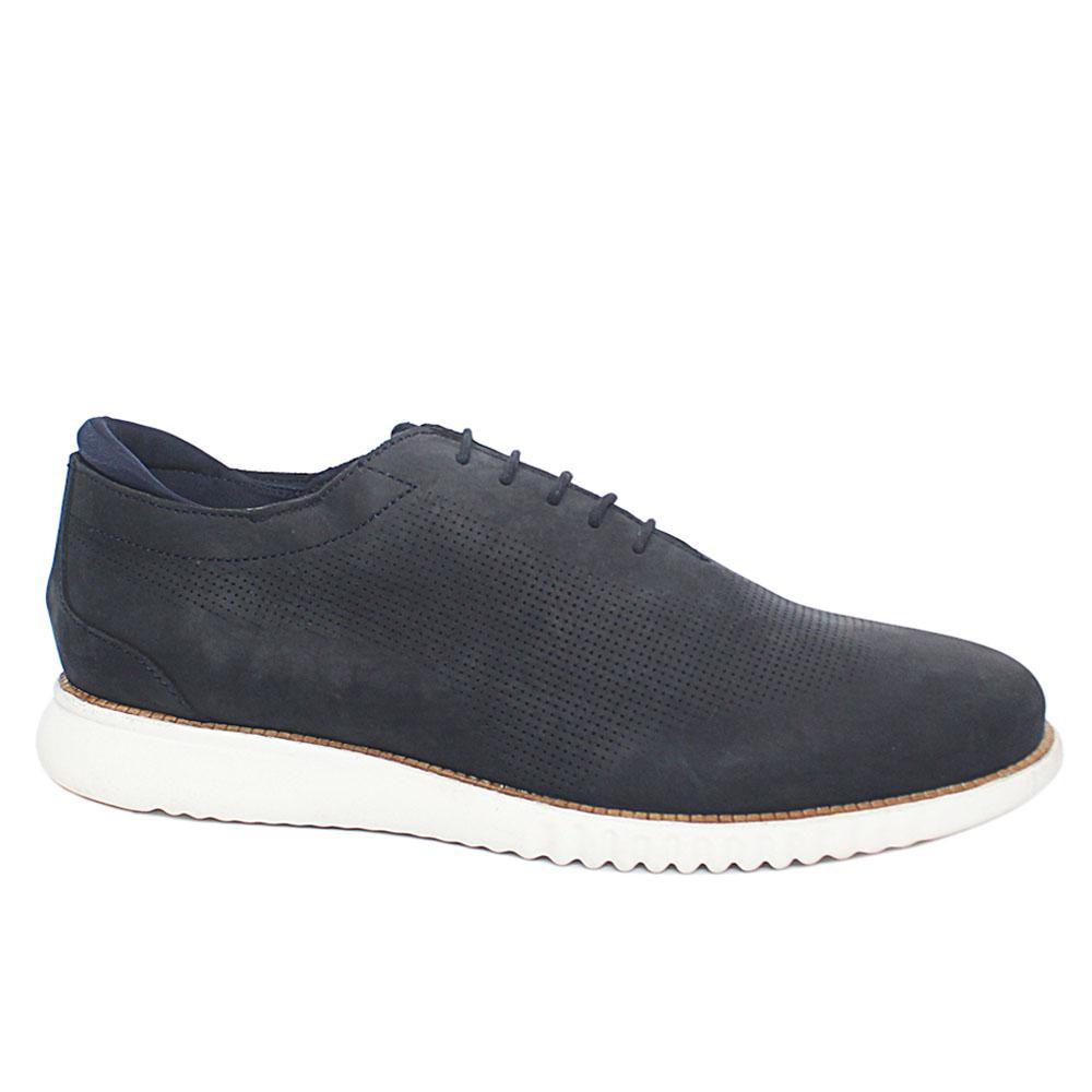 Beauly Navy Leather Comfort Fit Men Sneakers