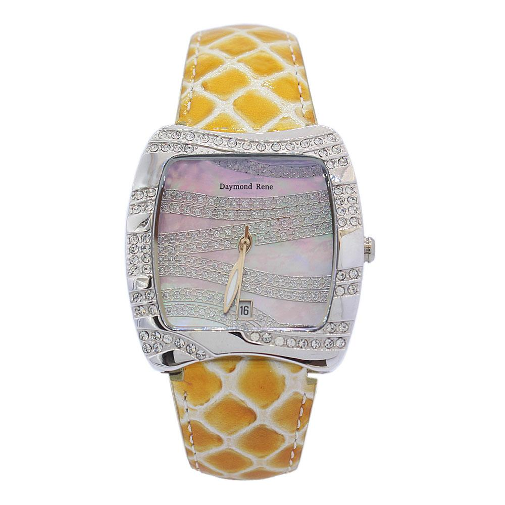DR Silver Yellow Leather Ladies Watch