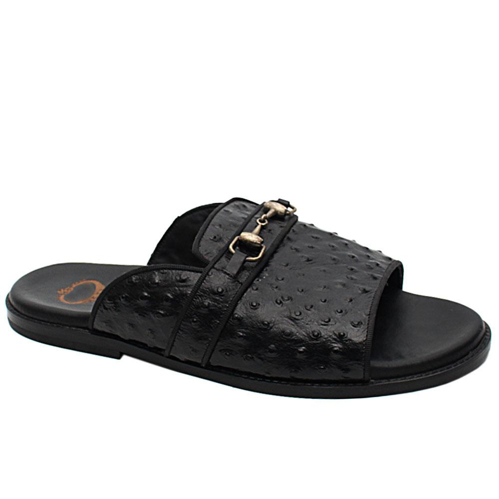 Black Peafowl Italian Leather Store Display Slippers