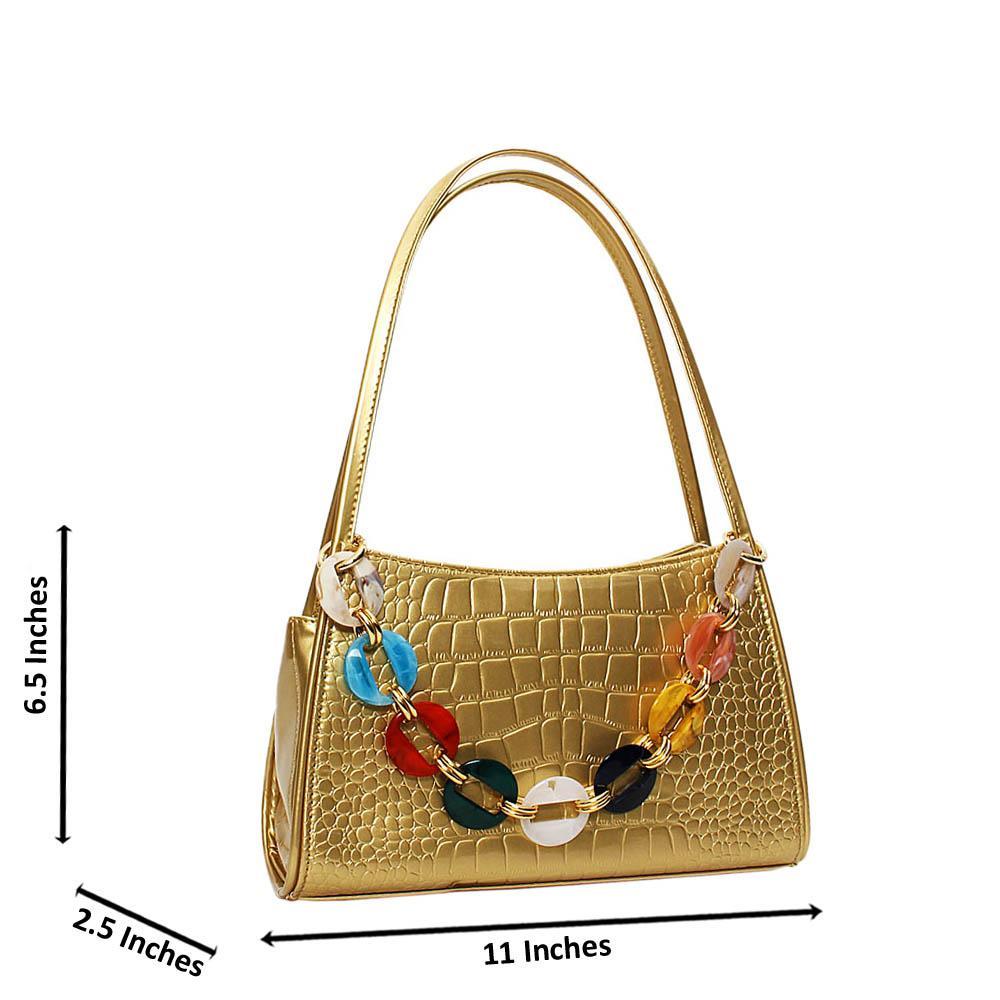 Gold Candice Croc Patent Leather Mini Handbag