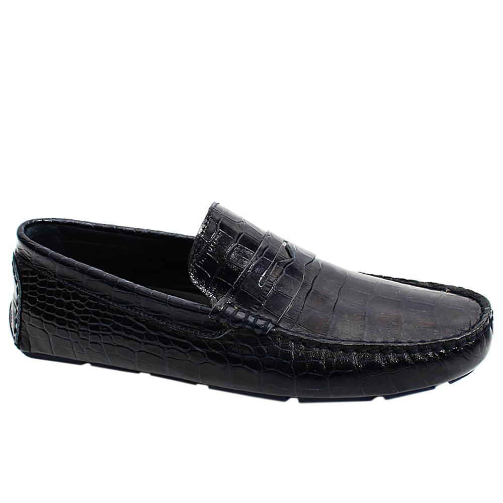Navy Croco Italian Leather Men Drivers Shoe