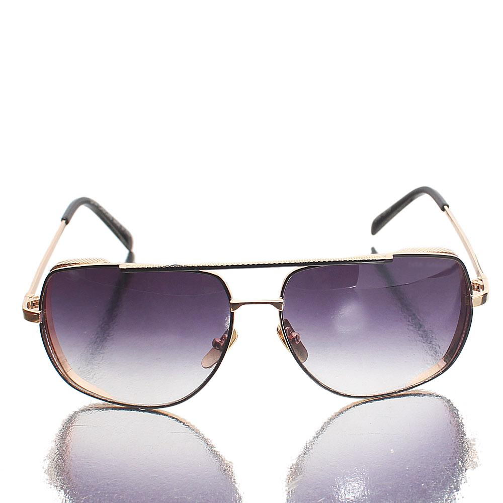 Gold Black Aviator Dark Lens Sunglasses