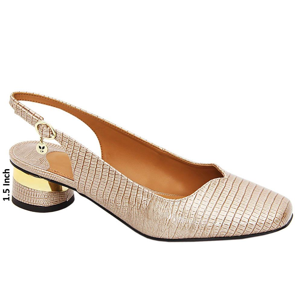 Pearl Beige Bella Patent Leather Low Heel Slingback Pumps