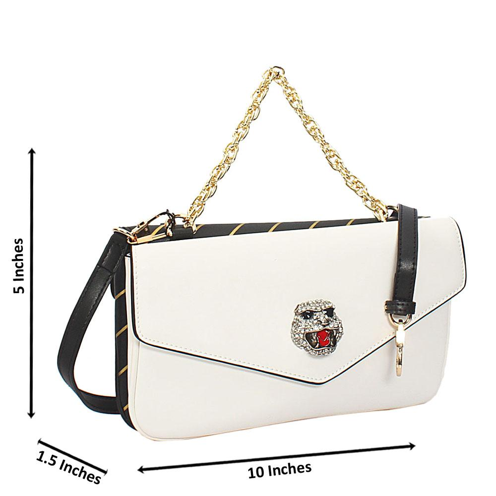 Ellena White Black Montana Leather Chain Handle Crossbody Handbag