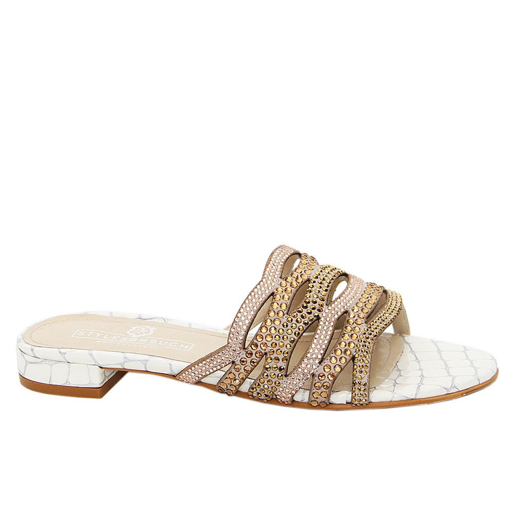 White Carolina Studded Italian Leather Low Heel Slippers