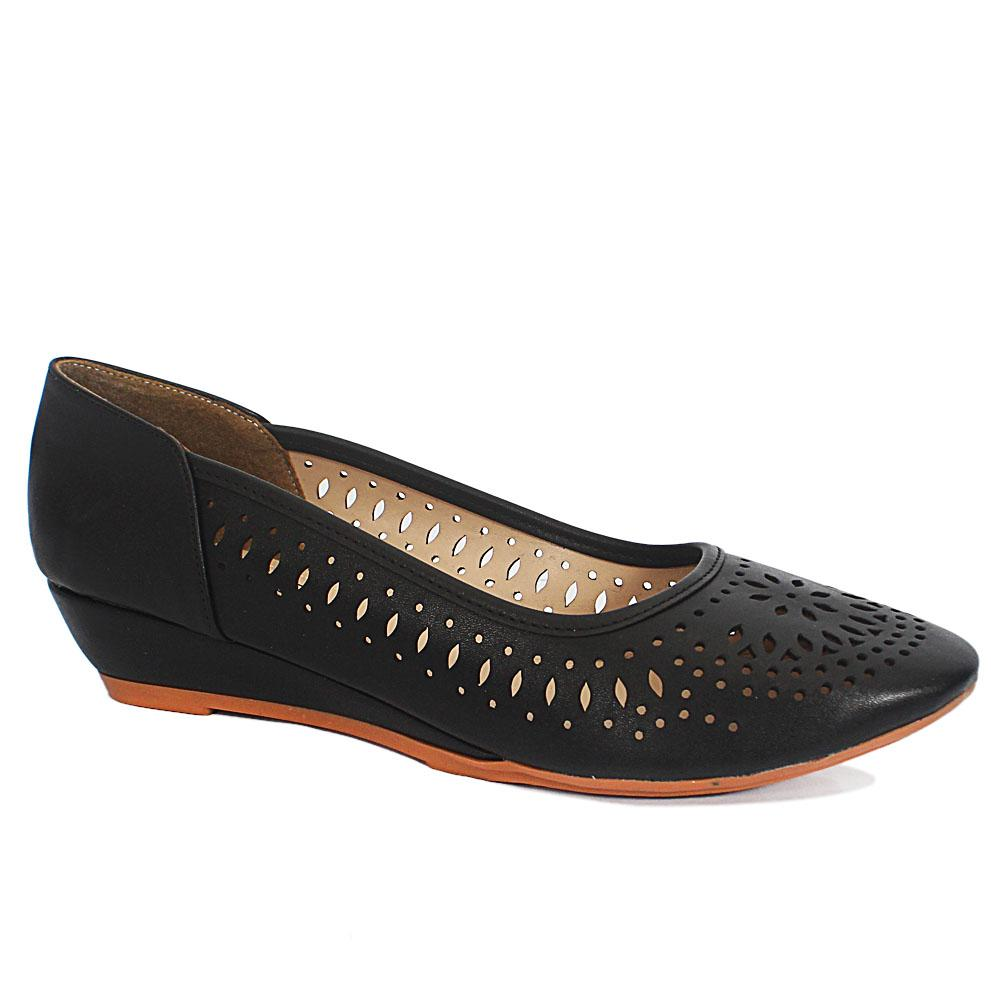 Claudia Black Perforated Leather Small Wedge Ladies Shoes