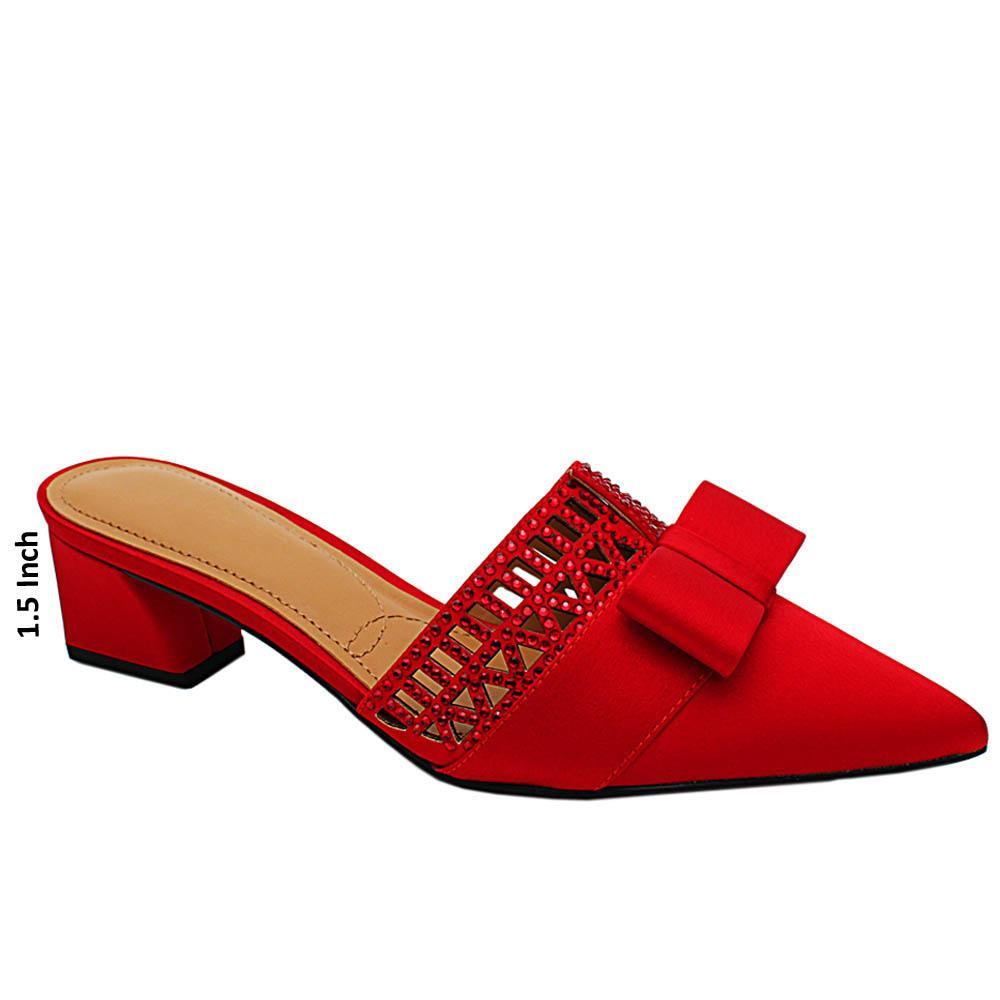 Red Hazel Satin Fabric Low Heel Half Pumps