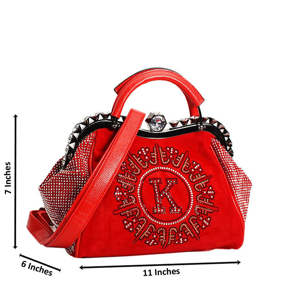 Red Avena Crystals Studded Suede Leather Small Tote Handbag