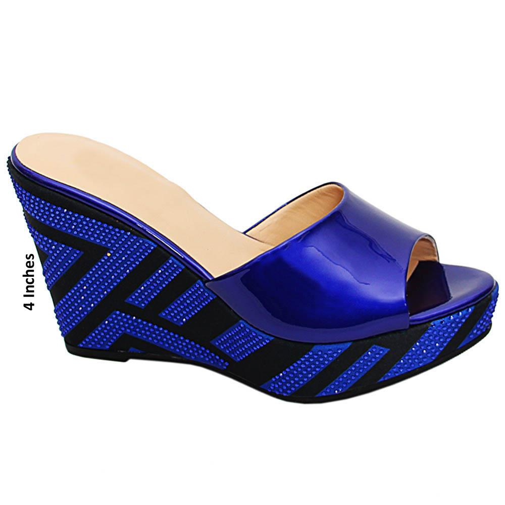 Blue Daniela Studded Patent Italian Leather Wedge Heels