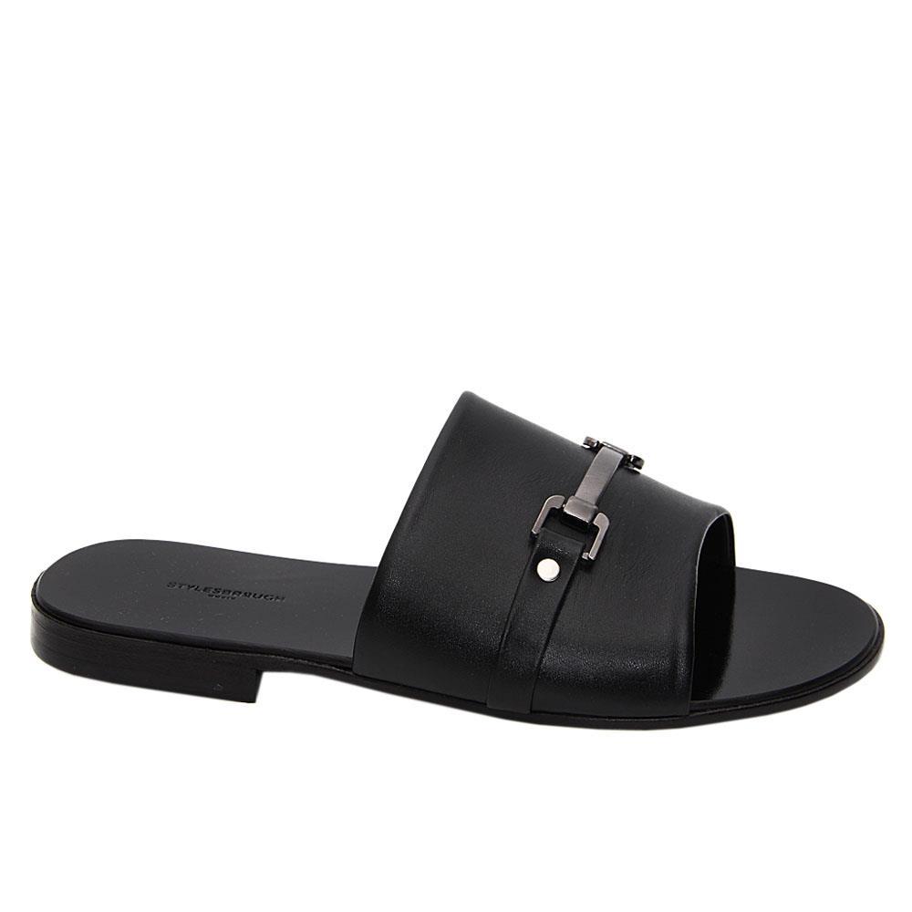 Black Bruno Santino Italian Leather Slippers