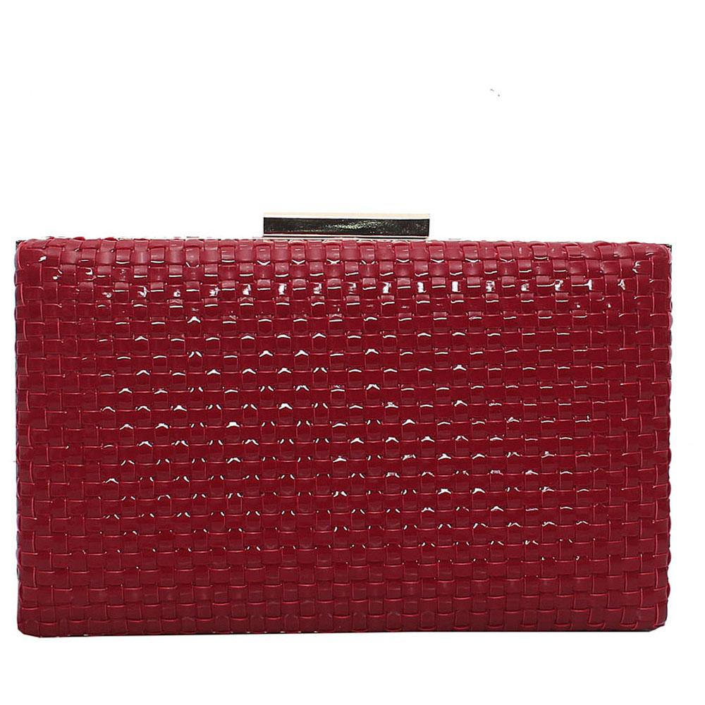 Red Leather Premium Hard Clutch