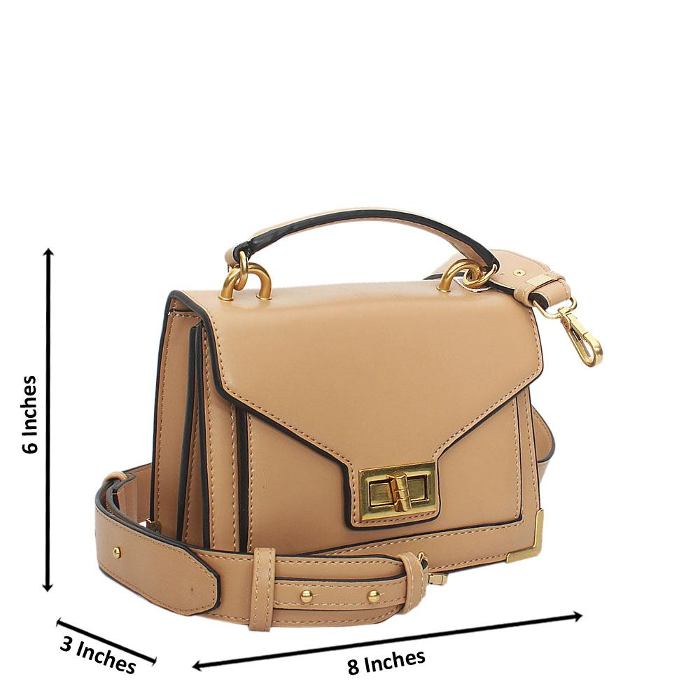 Khaki Cutie Leather Mini Top Handle Handbag