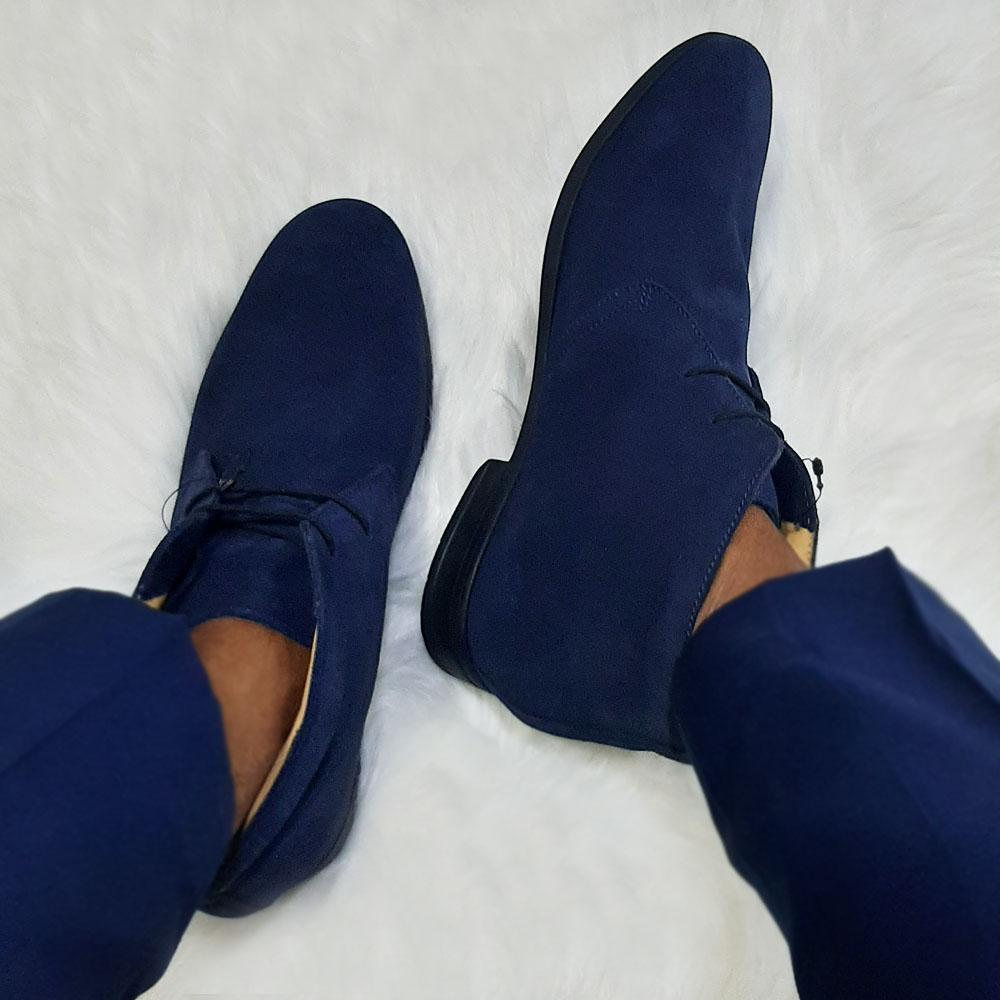 Blue Suede Leather Men Ankle Boot