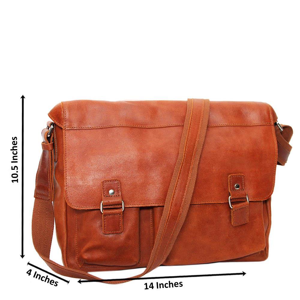 Brown Mason Pure Leather Messenger Bag