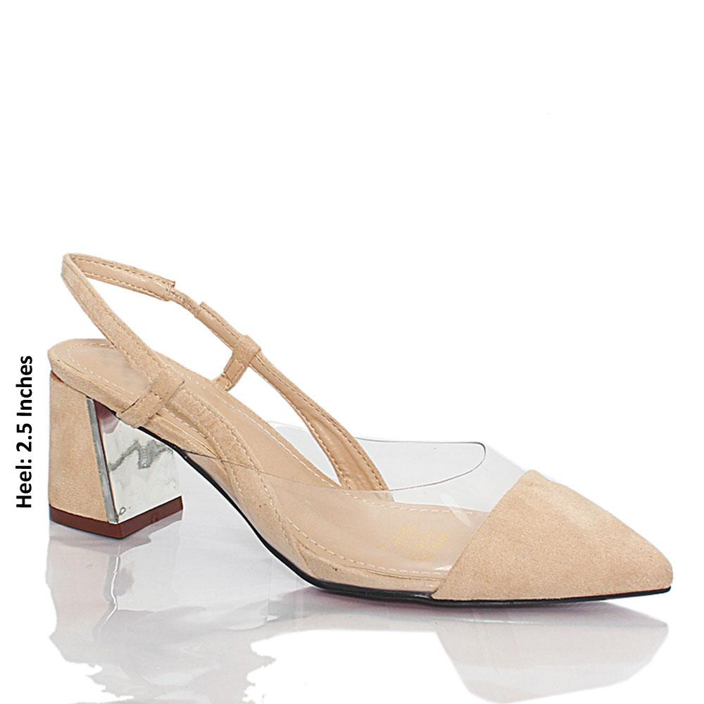Beige Suede Leather Transparent Slingback Heel