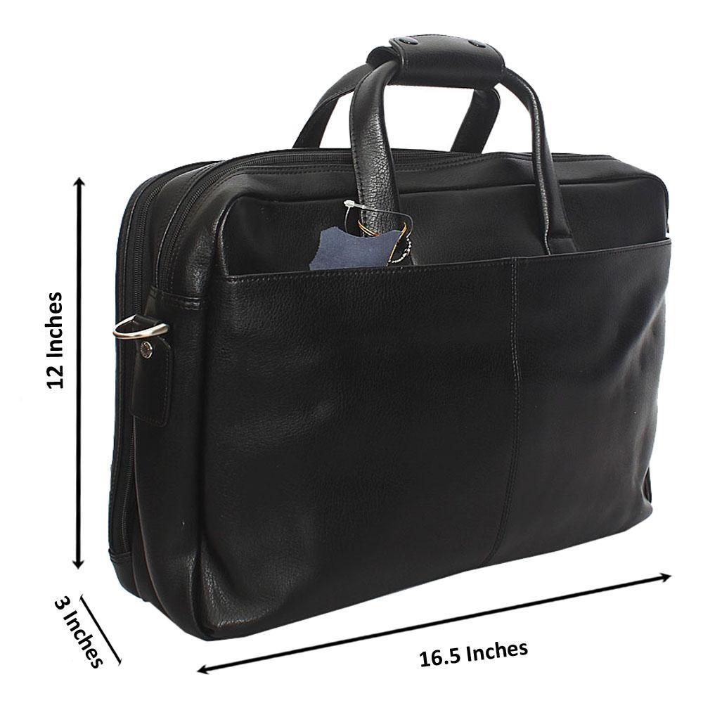 371166e08800 M  amp  S Black Genuine Leather Briefcase