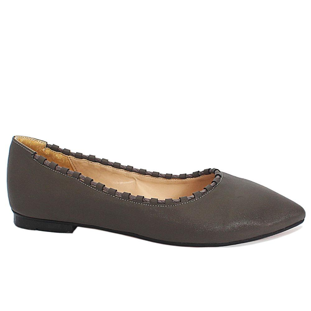 Sz 37 Allison Gray Body Thread Leather Pointed Toe Flat Shoes