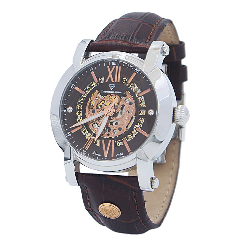 DR 3ATM Stainless Steel Coffee Leather Automatic Skeletal Watch