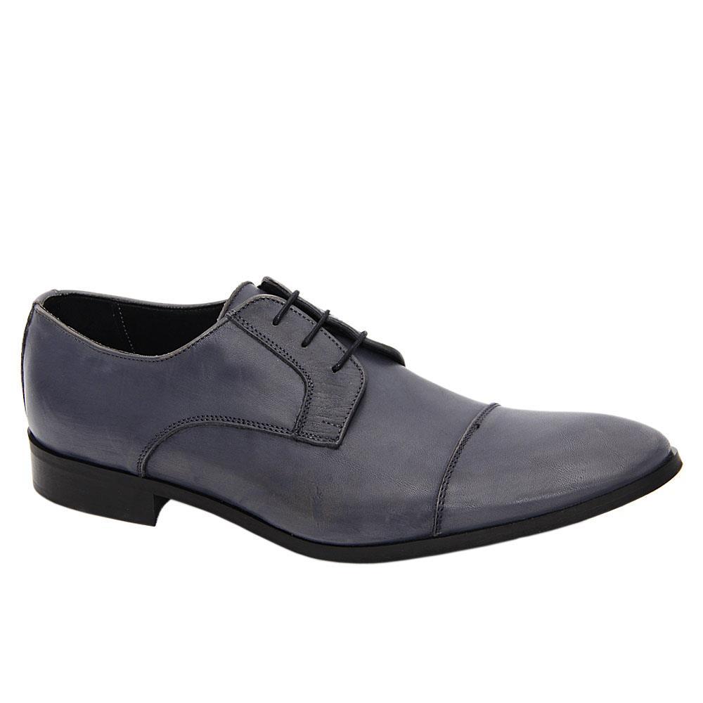 Bluish Gray Marcel Italia Leather Men Derby Shoes
