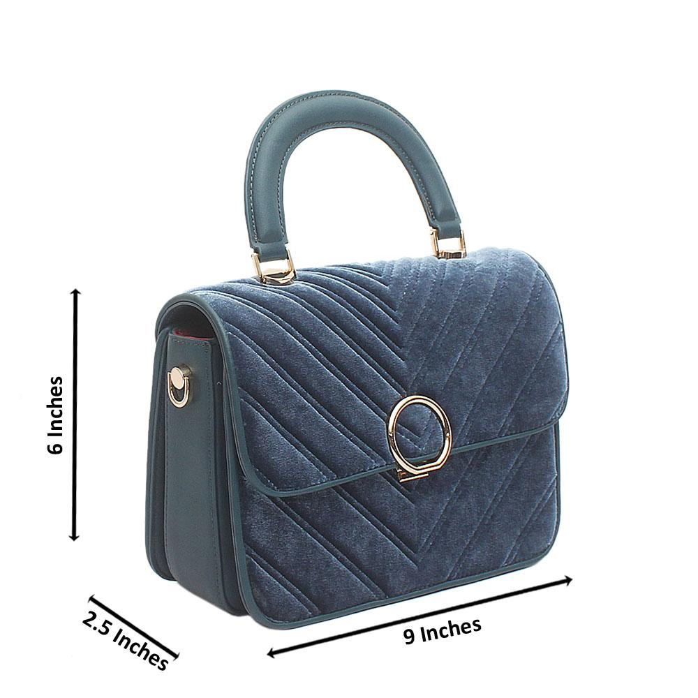 Blue Susen Corduroy Small Leather Handbag