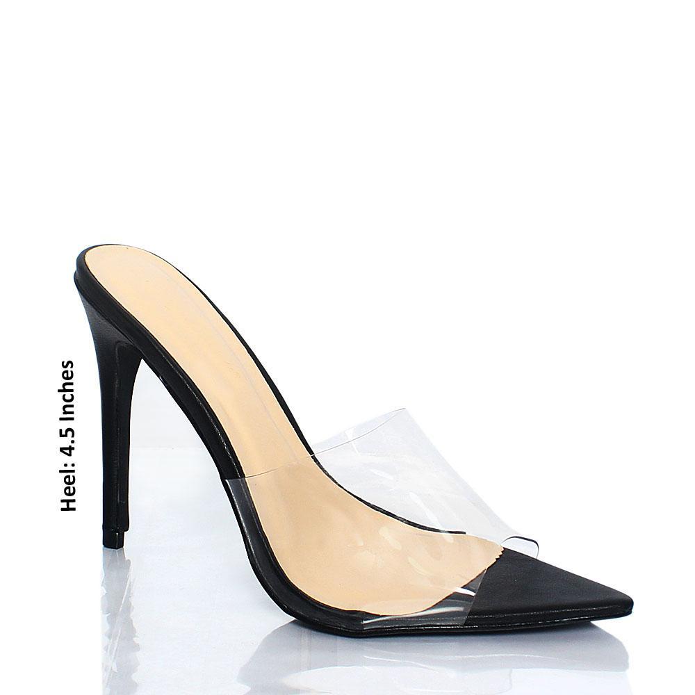 Black AM Chi Rubber Top High Heel Mule