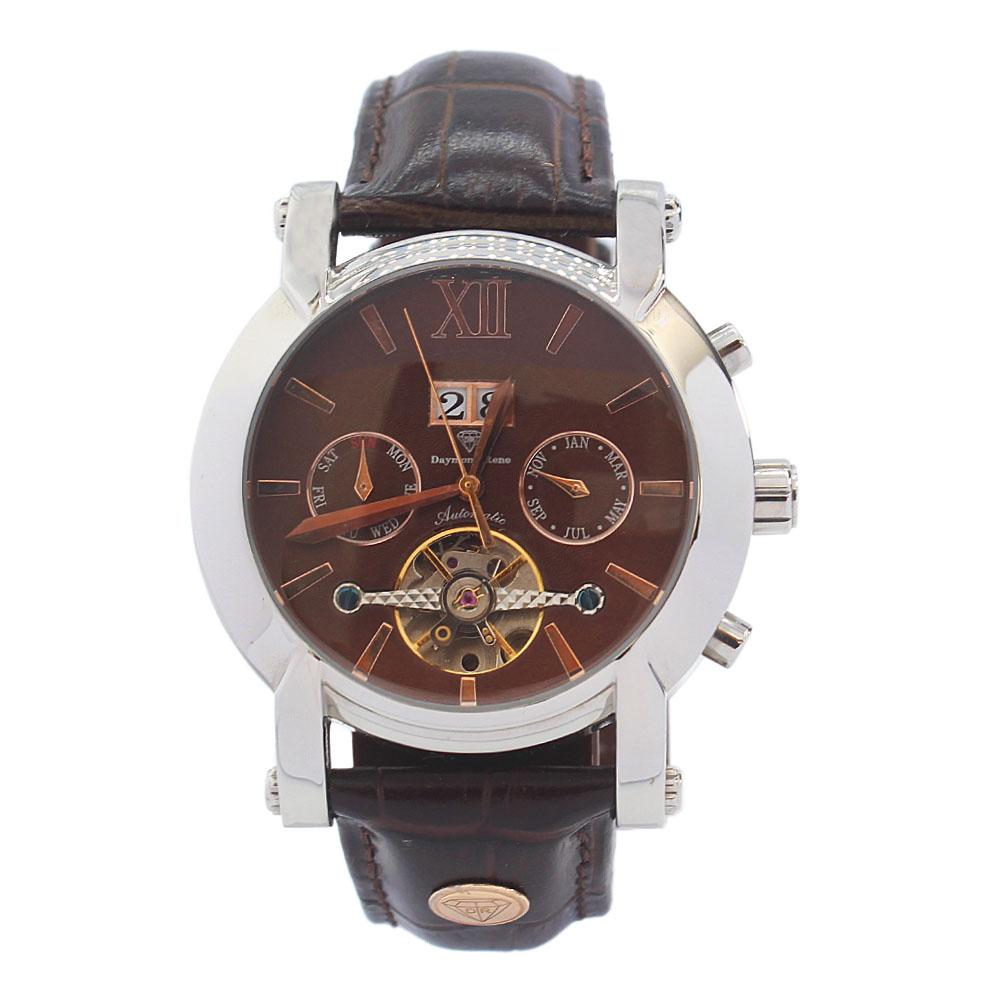 DR 3ATM Silver Coffee Leather Automatic Watch
