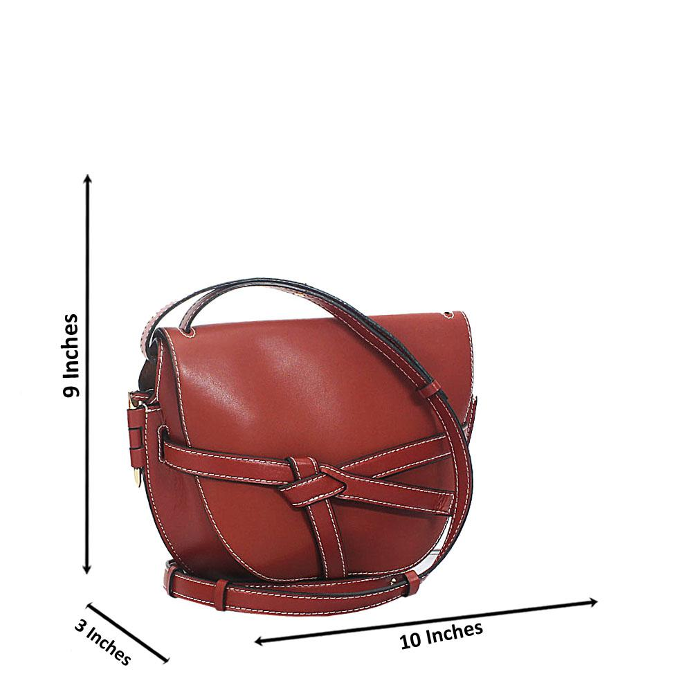 Wine Pisa Cow Leather Saddle Handbag