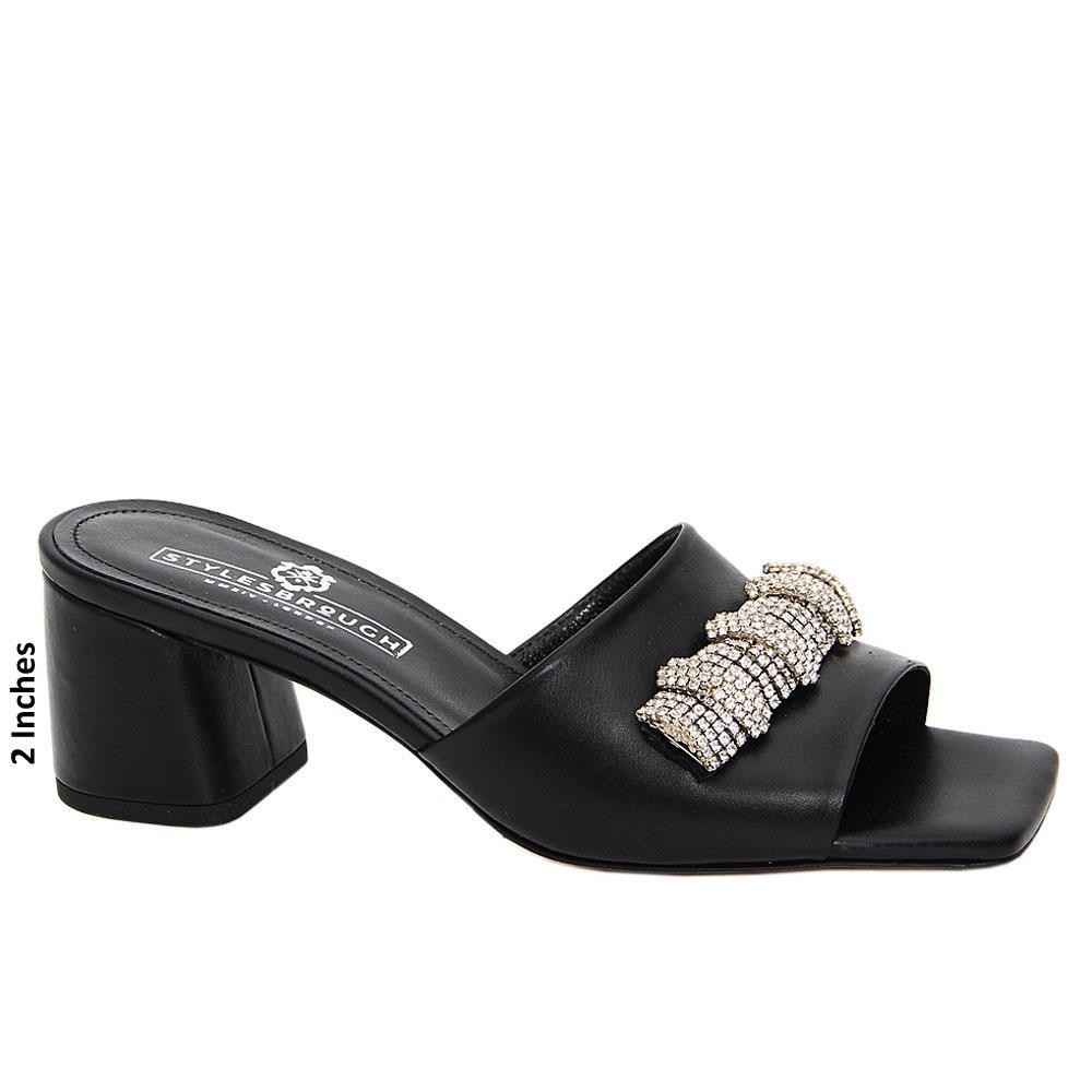 Black Clarissa Italian Leather Mid Heel Mule