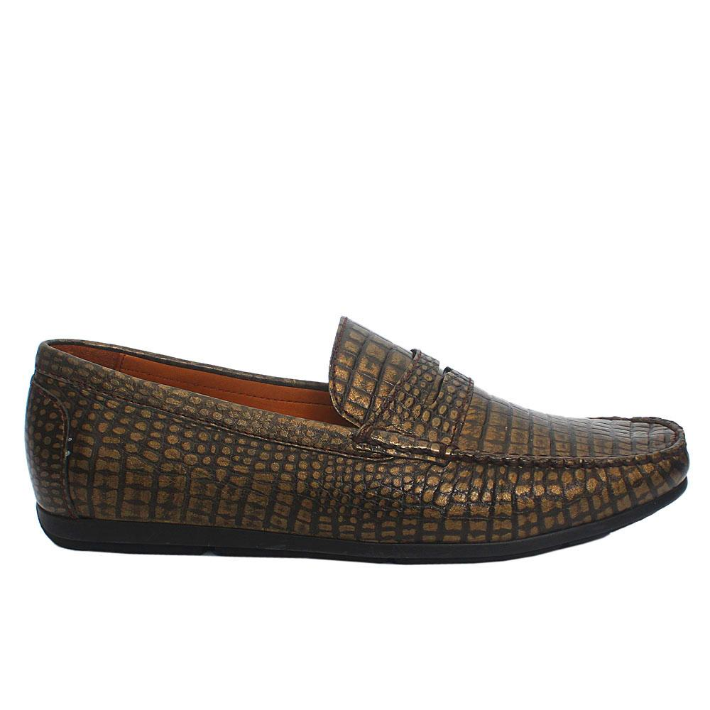 Gold Croc Style Italian Leather Drivers Shoes