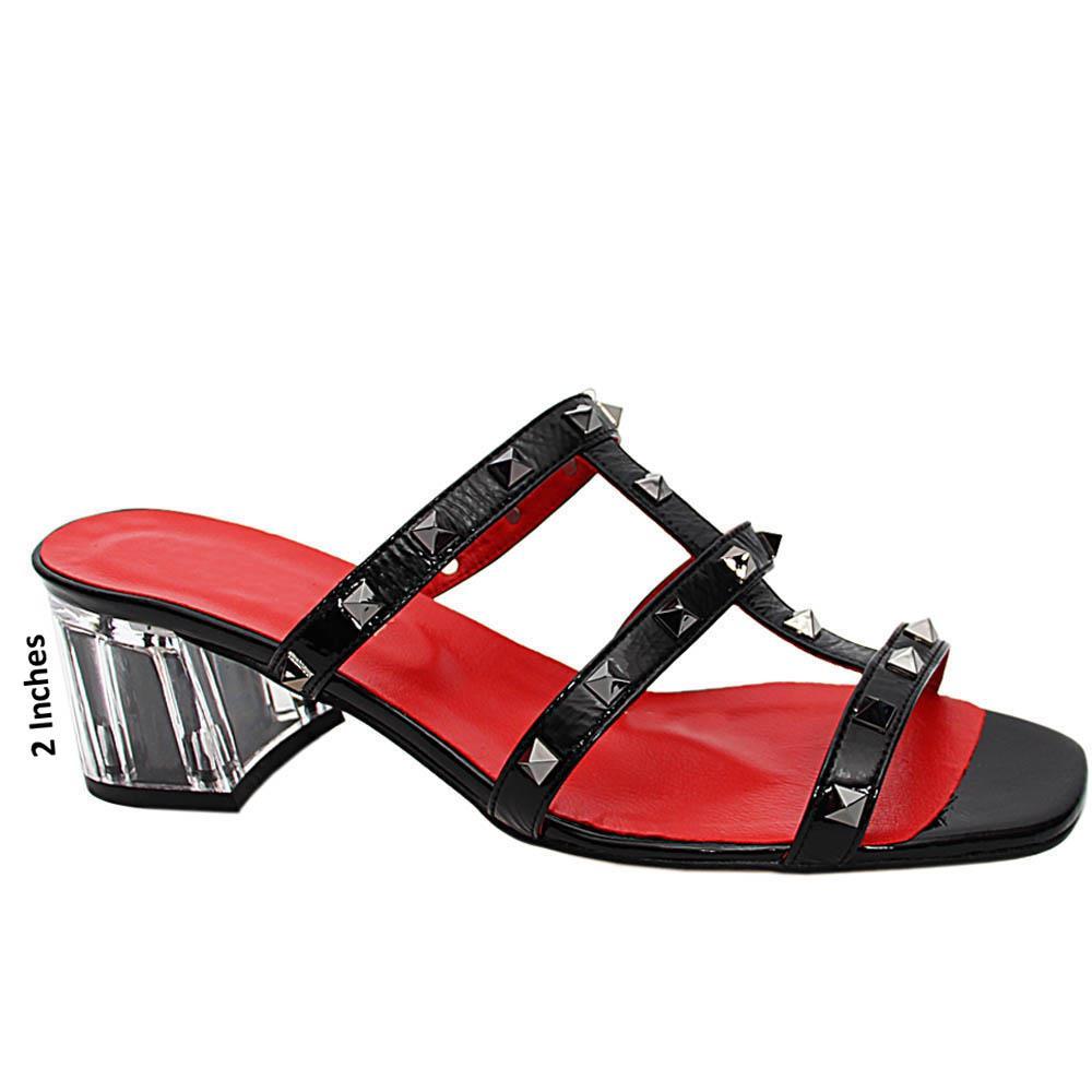 Black Evelina Studded Italian Leather Mid Heel Mule