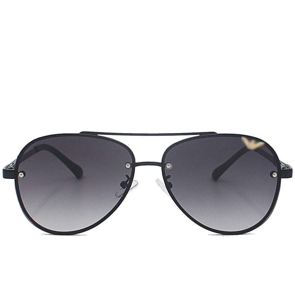 Black Aviator Rimless Sunglasses
