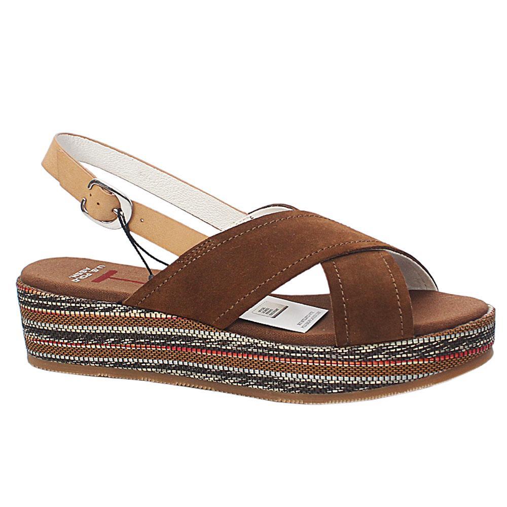 USSPA Brown Radinka Leather Wedge Sandals