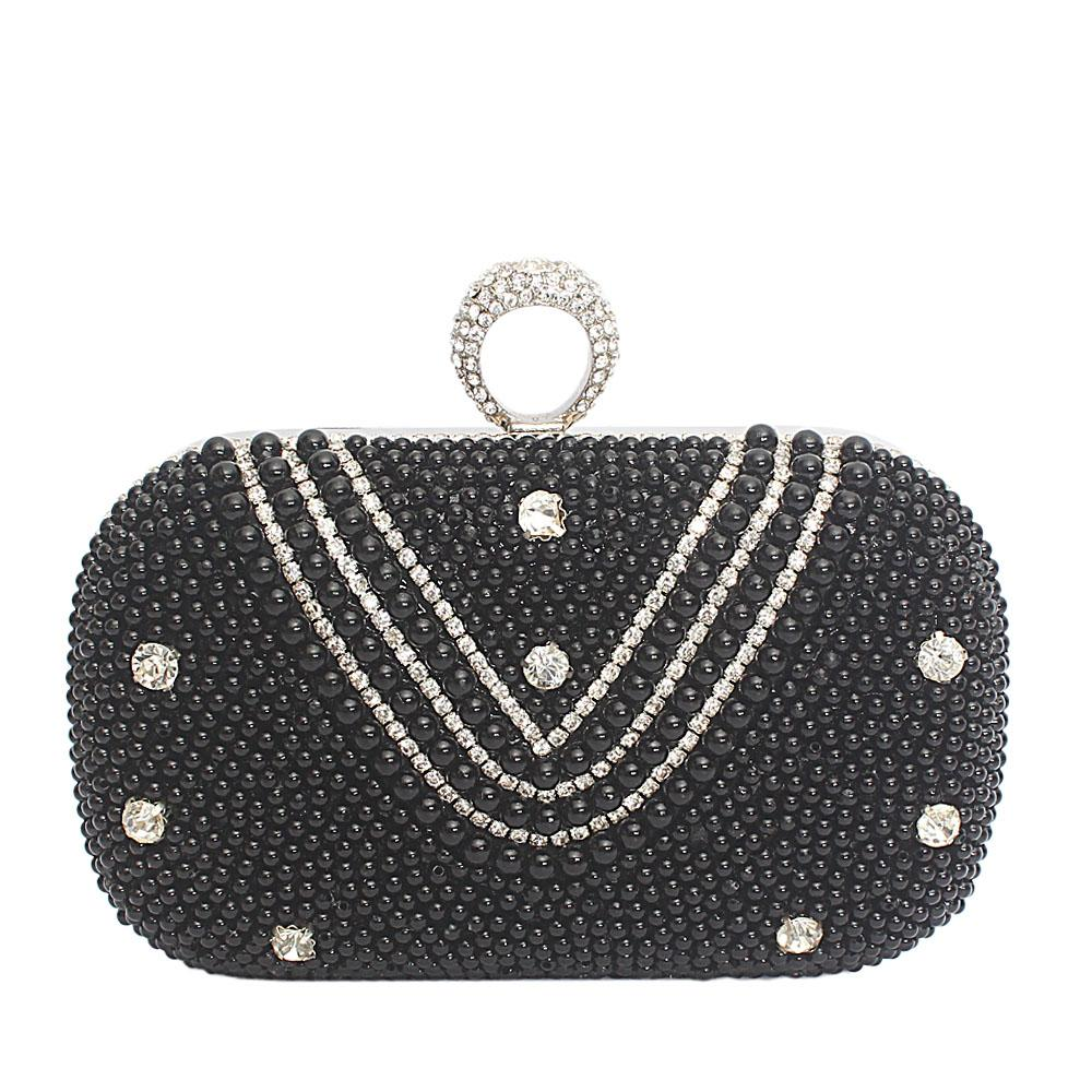 Silver Black Beaded Hard Clutch Purse