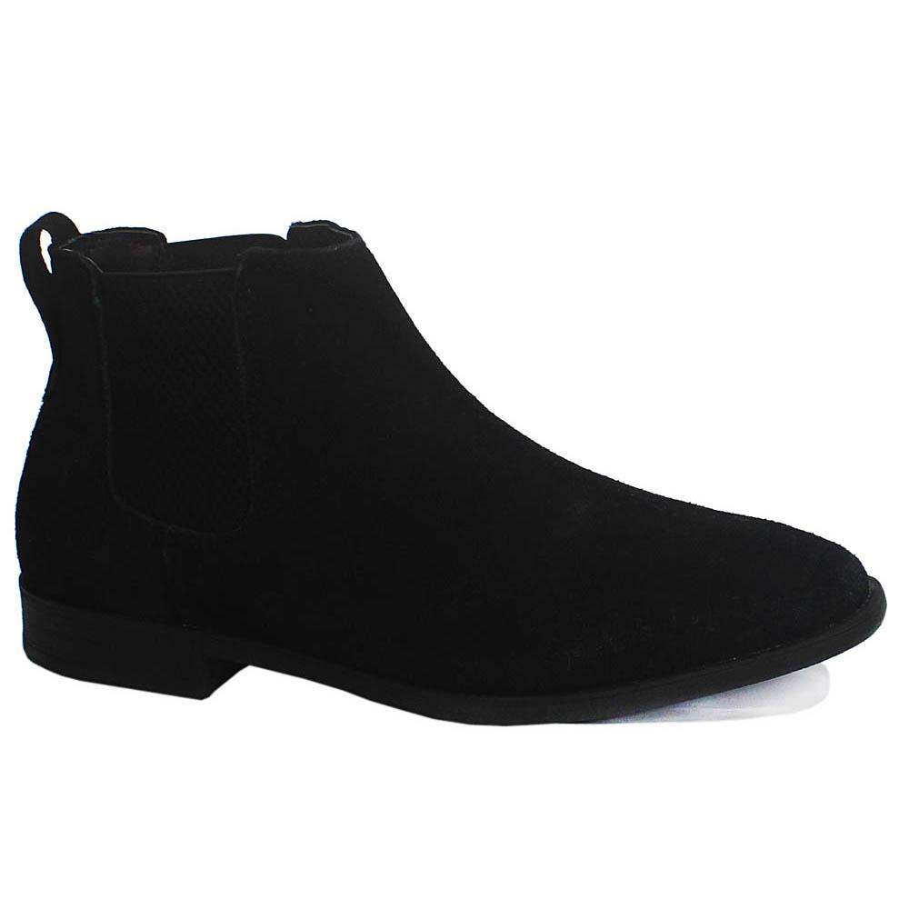 Black Suede Leather Men Ankle Boot