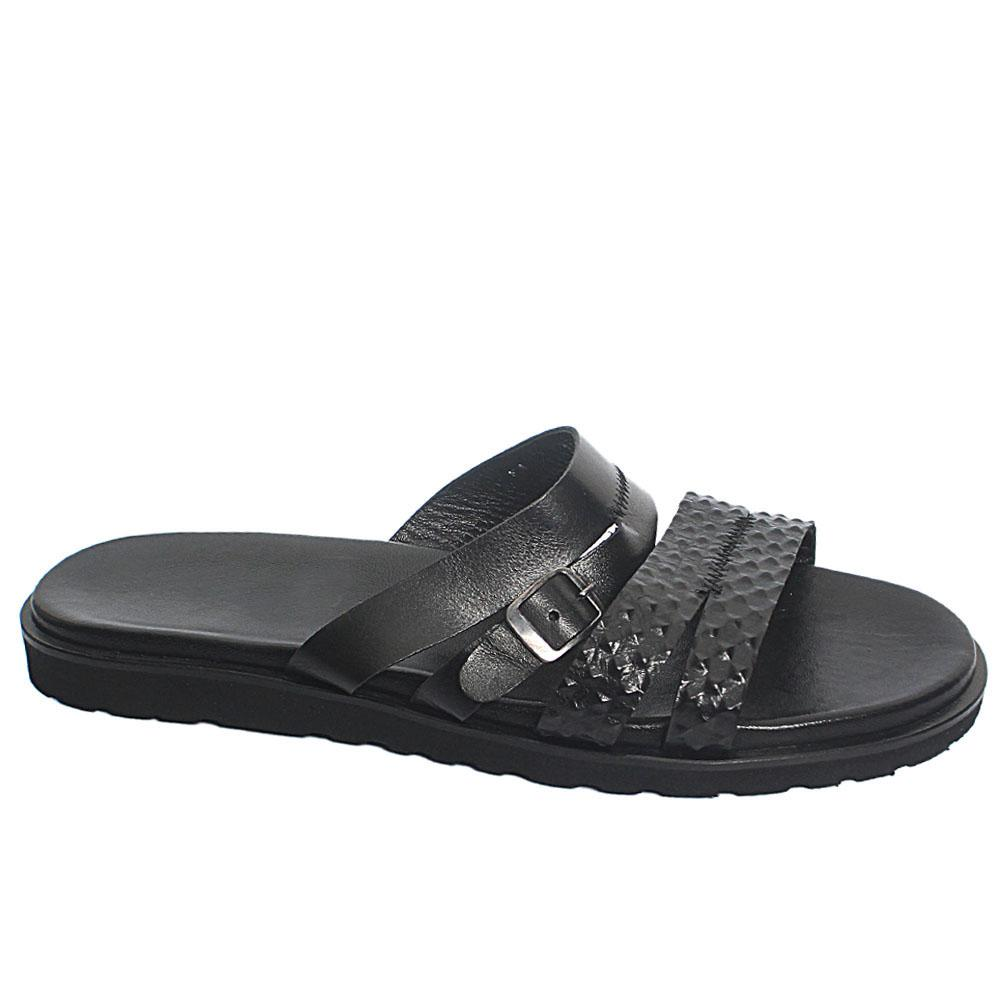 Black Cambino Leather Men Slippers