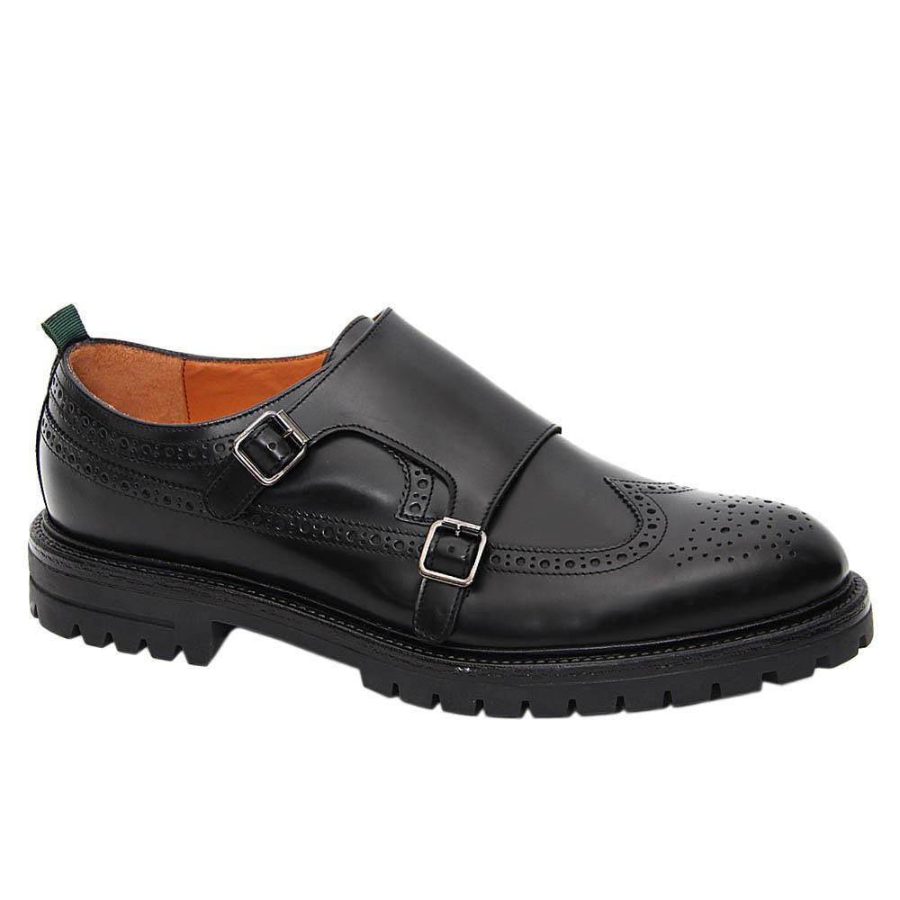 K Geiger Black Theodore Leather Monk Strap Shoe