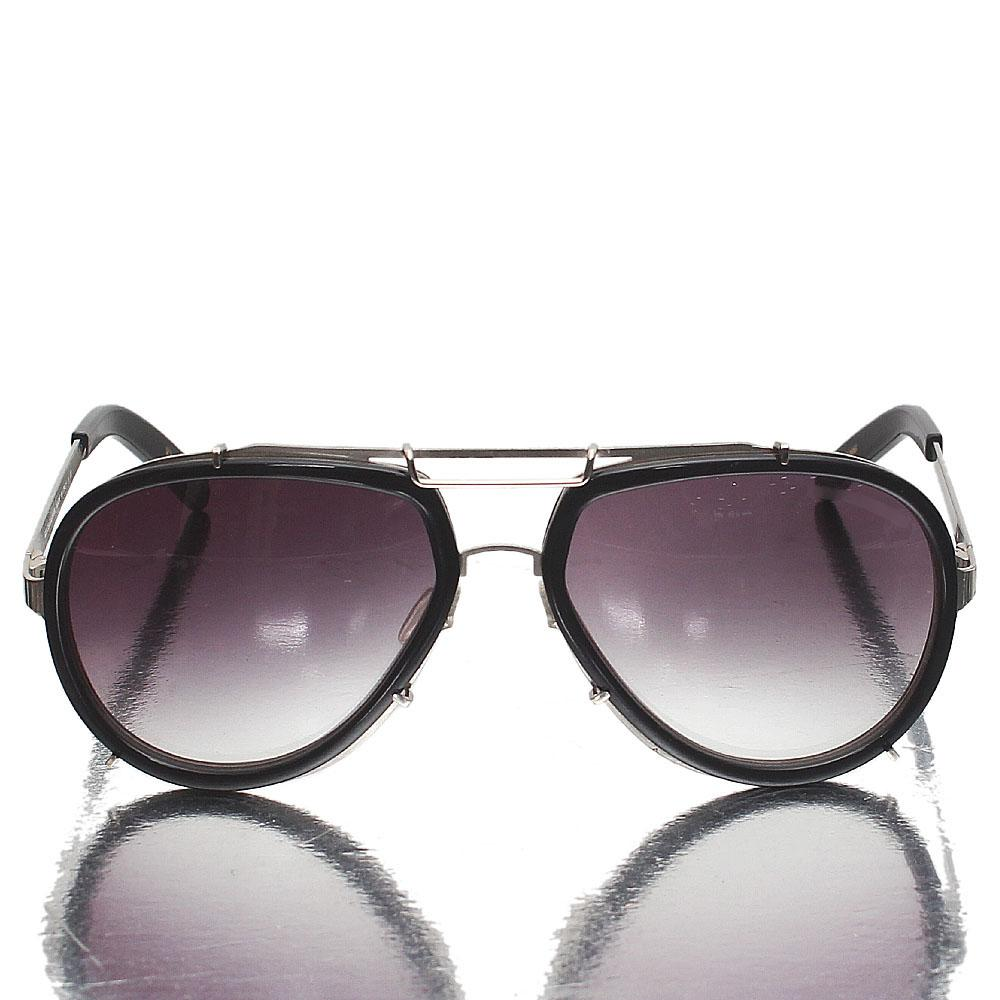 Silver Black Aviator Dark Lens Sunglasses