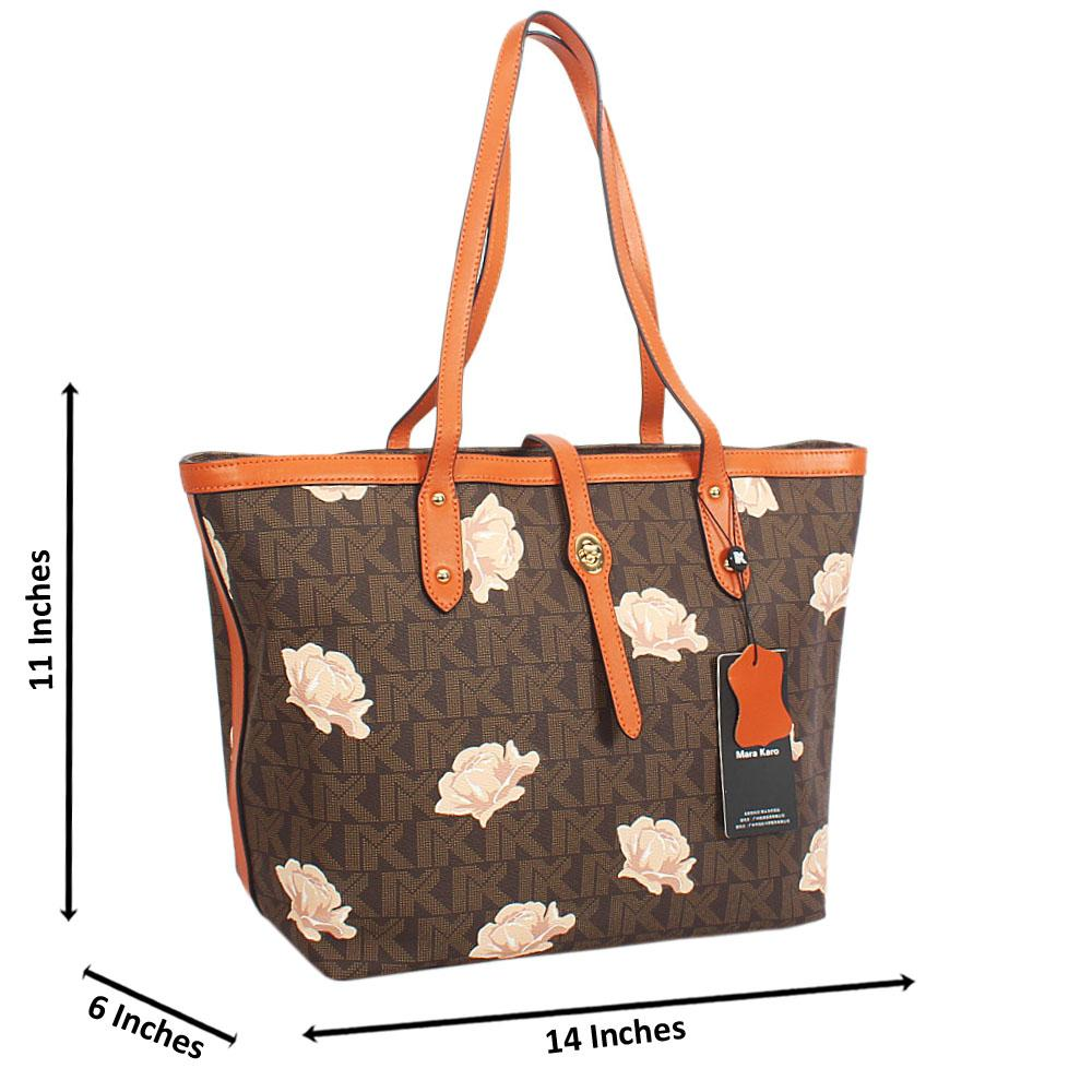 Brown Flora Print Leather Long Strap Shoulder Handbag