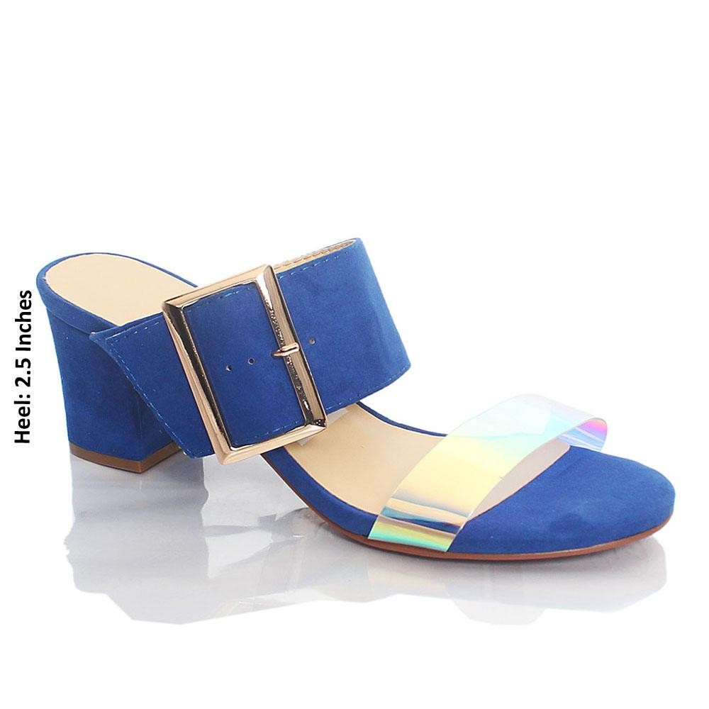 Blue Gasha Reflective Rubber Suede Leather Mule