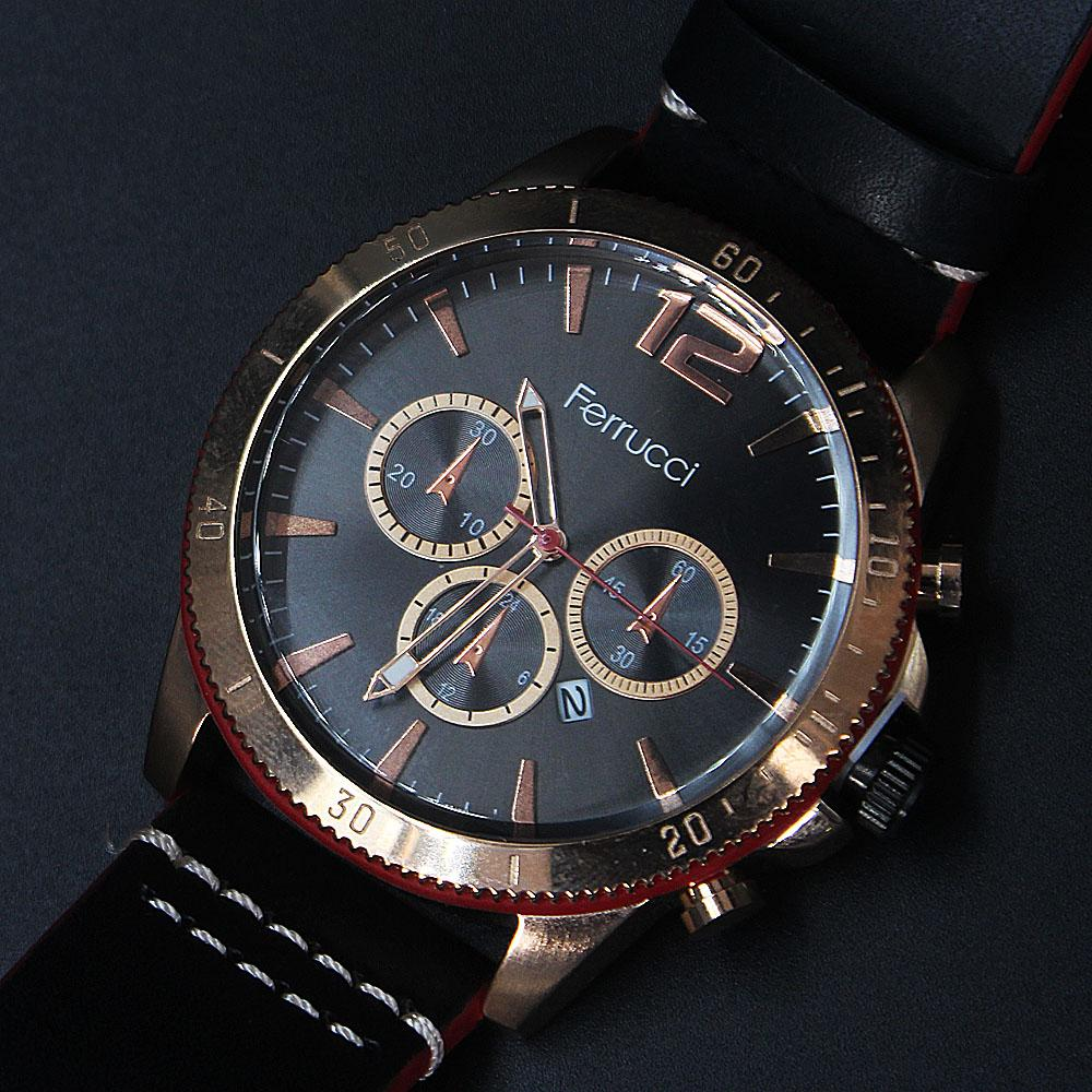 Black Red Leather Watch