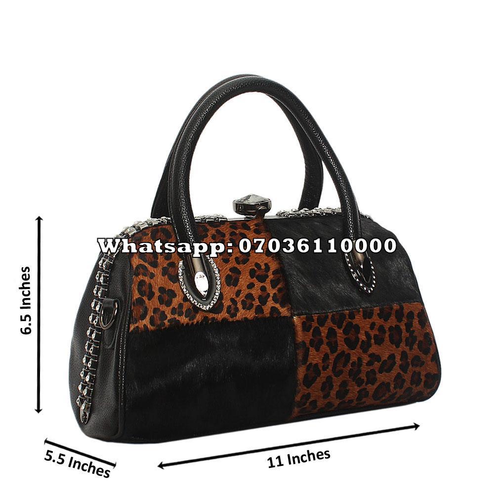 Black Brown Ellena Furry Leather Small Tote Handbag