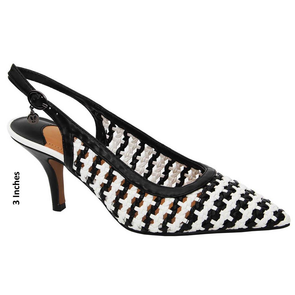Black White Claire Woven Leather Mid Heel Slingback Pumps