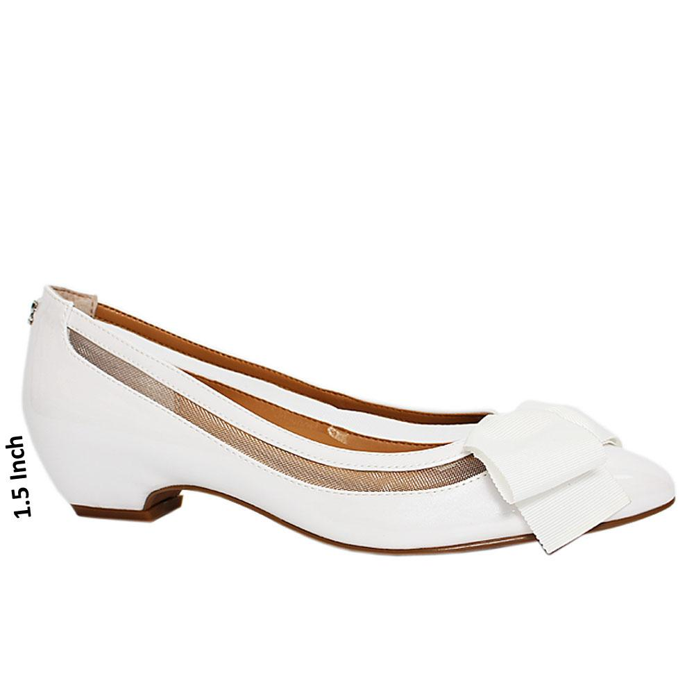 White campus Patent Leather Low Heel Shoe