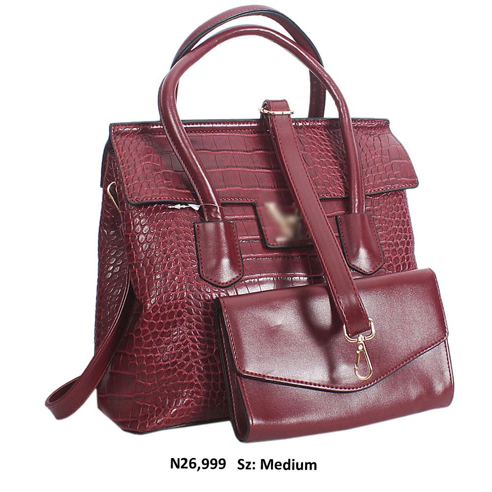 Rose Purple Croc Style Leather Tote Handbag