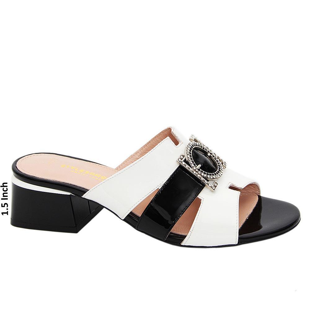 White Black Aria Patent Italian Leather Low Heel Mule