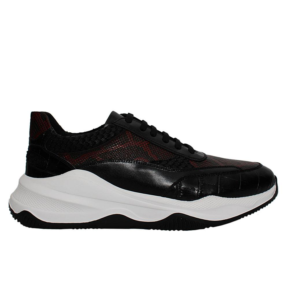 Wine Black Animal Print Italian Leather Sneakers